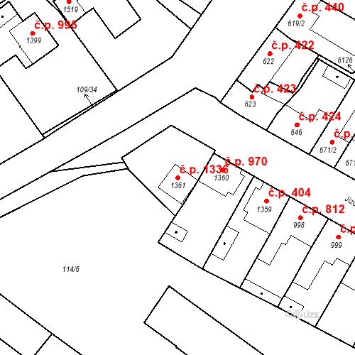 Katastrální mapa Stavební objekt Velké Bílovice 1336, Velké Bílovice