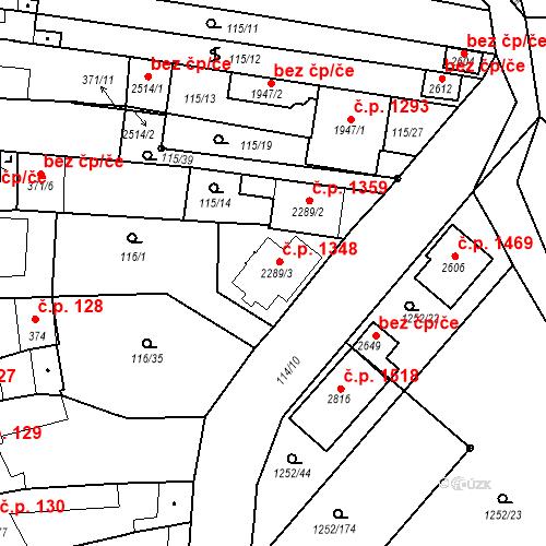 Katastrální mapa Stavební objekt Velké Bílovice 1348, Velké Bílovice