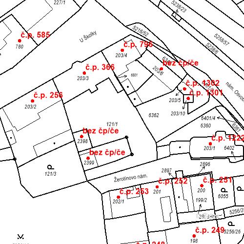 Katastrální mapa Stavební objekt Velké Bílovice 1368, Velké Bílovice