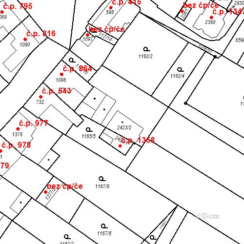 Katastrální mapa Stavební objekt Velké Bílovice 1358, Velké Bílovice