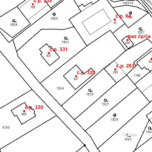 Katastrální mapa Stavební objekt Lipovec 320, Lipovec