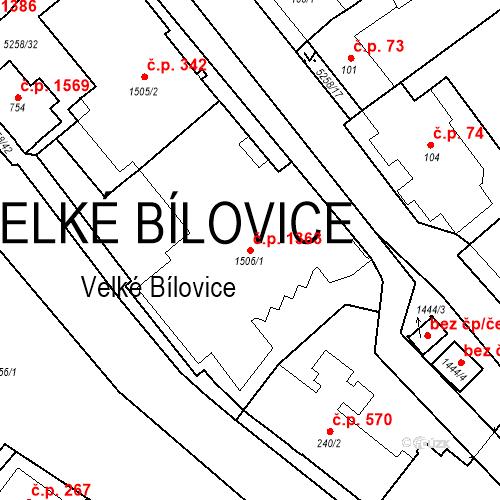 Katastrální mapa Stavební objekt Velké Bílovice 1363, Velké Bílovice