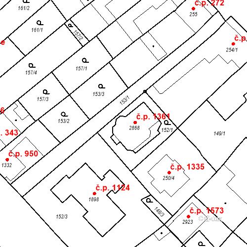 Katastrální mapa Stavební objekt Velké Bílovice 1361, Velké Bílovice