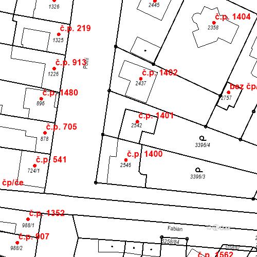 Katastrální mapa Stavební objekt Velké Bílovice 1401, Velké Bílovice