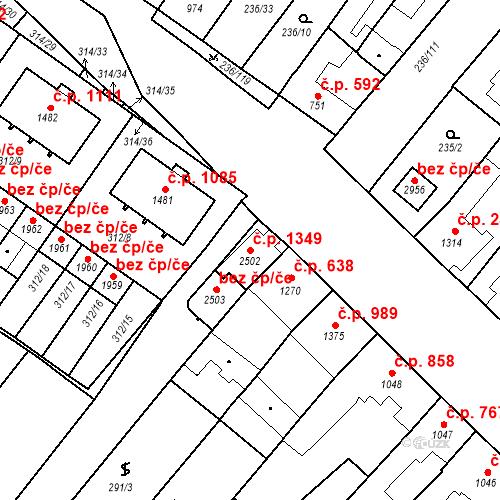 Katastrální mapa Stavební objekt Velké Bílovice 1349, Velké Bílovice