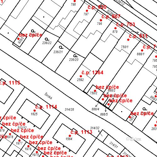 Katastrální mapa Stavební objekt Velké Bílovice 1364, Velké Bílovice