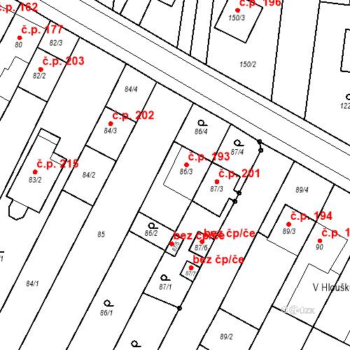 Katastrální mapa Stavební objekt Kovalovice 193, Kovalovice