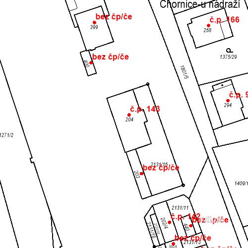 Katastrální mapa Stavební objekt Chornice 143, Chornice