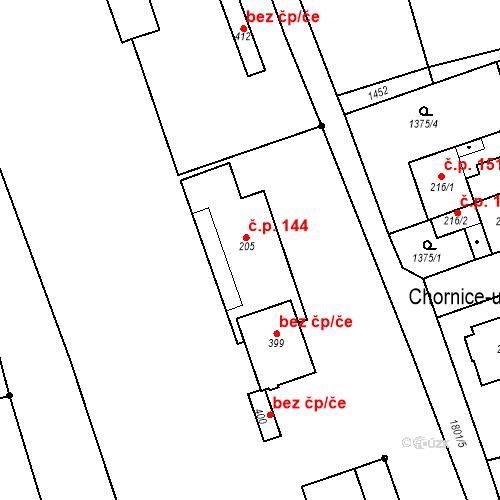 Katastrální mapa Stavební objekt Chornice 144, Chornice