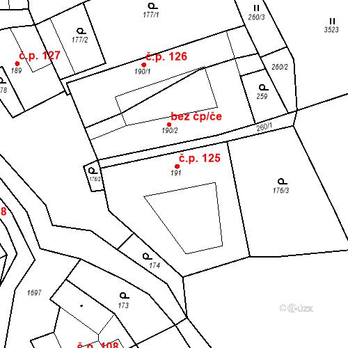 Katastrální mapa Stavební objekt Chornice 125, Chornice