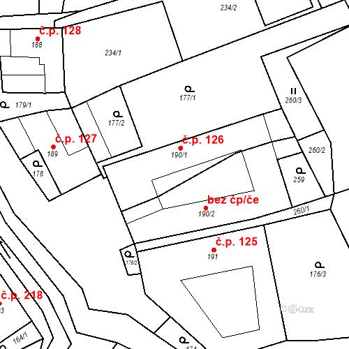 Katastrální mapa Stavební objekt Chornice 126, Chornice