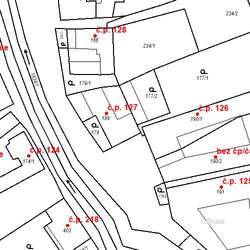 Katastrální mapa Stavební objekt Chornice 127, Chornice