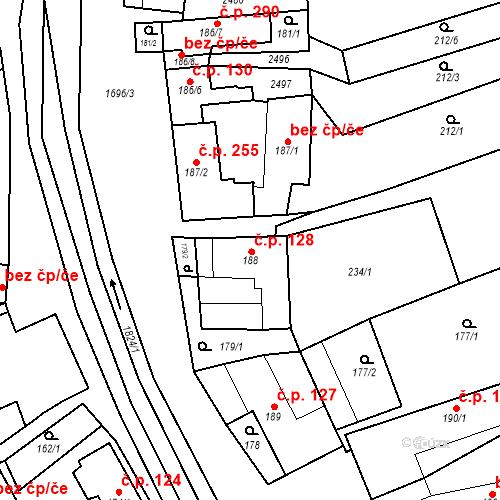 Katastrální mapa Stavební objekt Chornice 128, Chornice