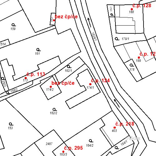 Katastrální mapa Stavební objekt Chornice 124, Chornice