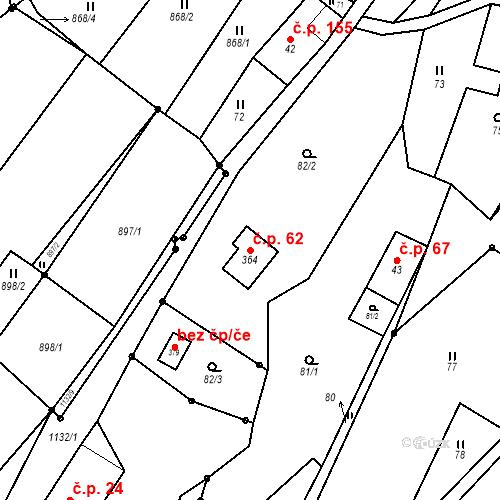 Katastrální mapa Stavební objekt Orličky 62, Orličky