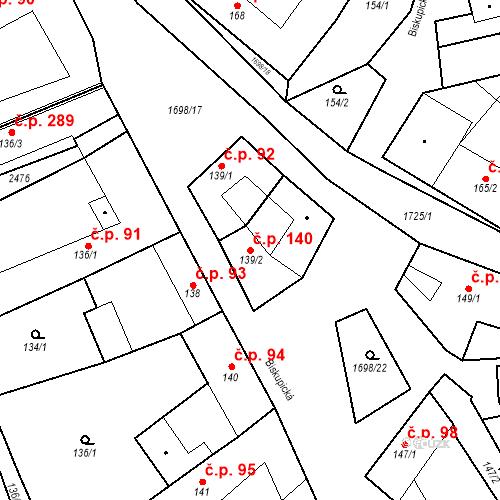 Katastrální mapa Stavební objekt Chornice 140, Chornice