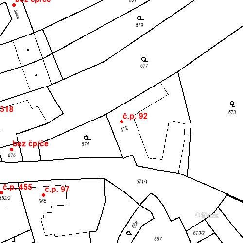 Katastrální mapa Stavební objekt Bošovice 92, Bošovice