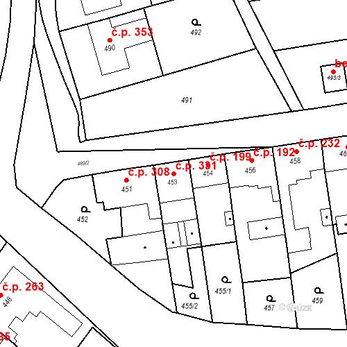 Katastrální mapa Stavební objekt Bošovice 331, Bošovice