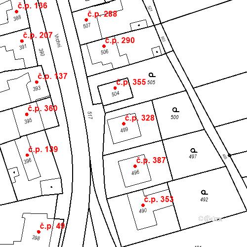 Katastrální mapa Stavební objekt Bošovice 328, Bošovice