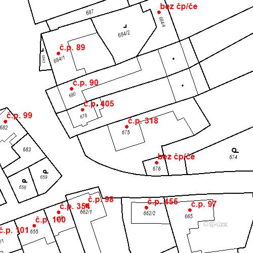 Katastrální mapa Stavební objekt Bošovice 318, Bošovice