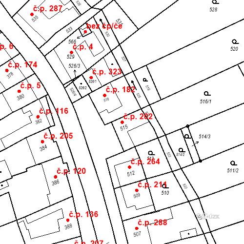 Katastrální mapa Stavební objekt Bošovice 202, Bošovice