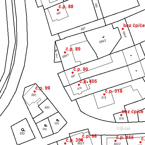 Katastrální mapa Stavební objekt Bošovice 90, Bošovice