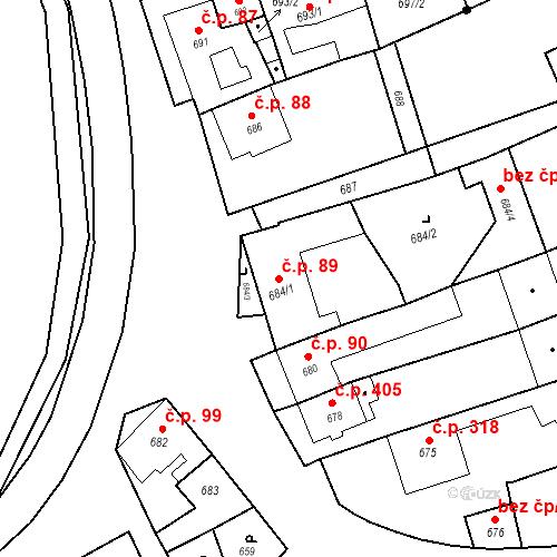 Katastrální mapa Stavební objekt Bošovice 89, Bošovice