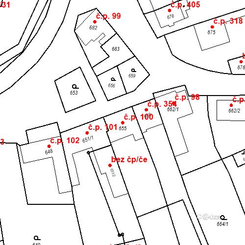 Katastrální mapa Stavební objekt Bošovice 100, Bošovice