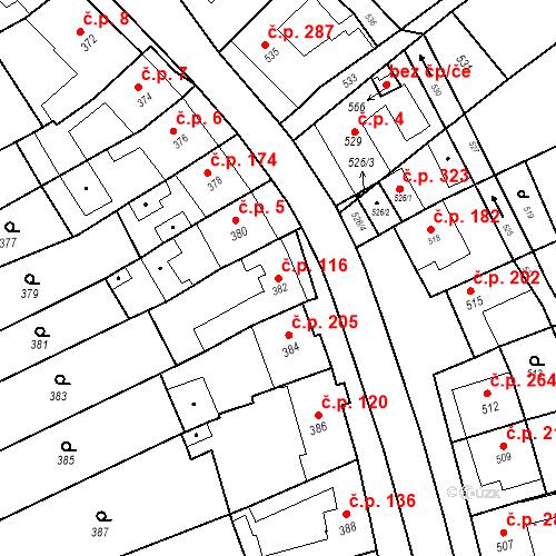 Katastrální mapa Stavební objekt Bošovice 116, Bošovice