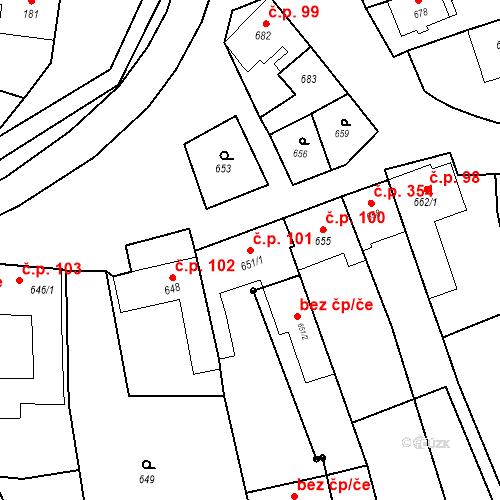 Katastrální mapa Stavební objekt Bošovice 101, Bošovice