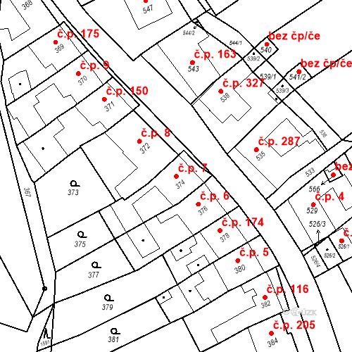 Katastrální mapa Stavební objekt Bošovice 7, Bošovice