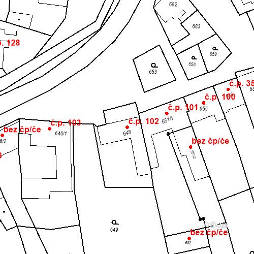 Katastrální mapa Stavební objekt Bošovice 102, Bošovice