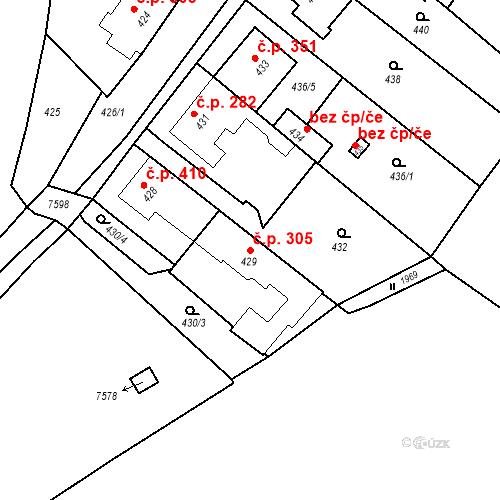 Katastrální mapa Stavební objekt Bošovice 305, Bošovice