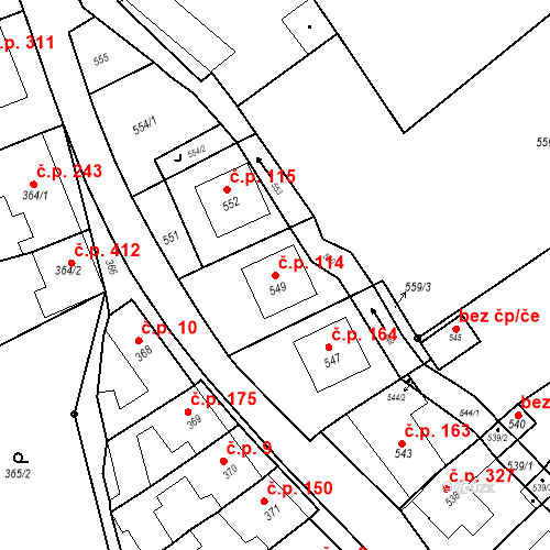 Katastrální mapa Stavební objekt Bošovice 114, Bošovice