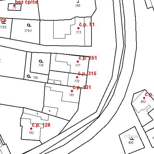 Katastrální mapa Stavební objekt Bošovice 315, Bošovice