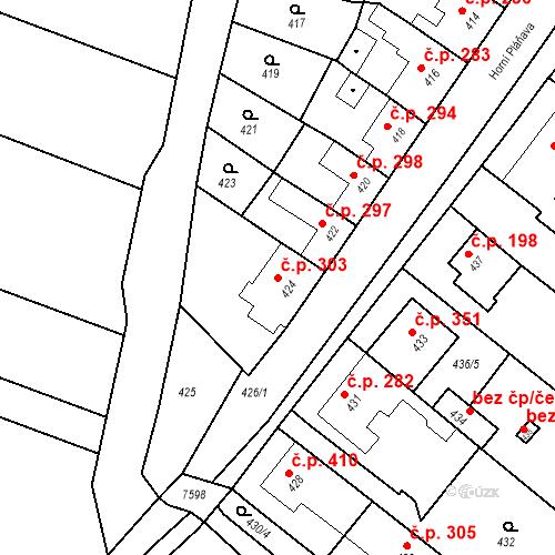 Katastrální mapa Stavební objekt Bošovice 303, Bošovice