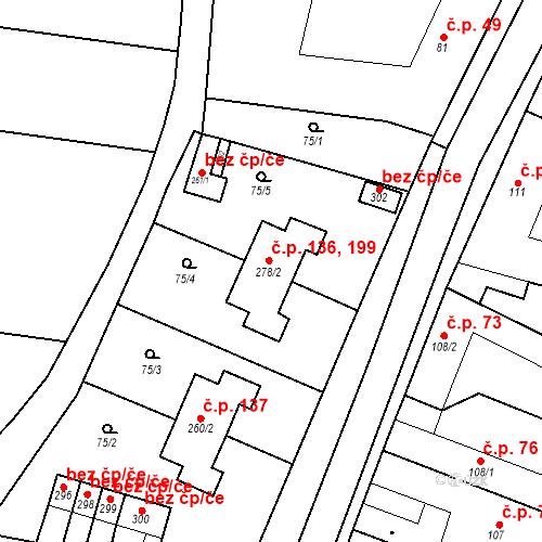 Katastrální mapa Stavební objekt Chornice 136, 199, Chornice