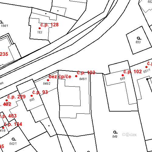 Katastrální mapa Stavební objekt Bošovice 103, Bošovice
