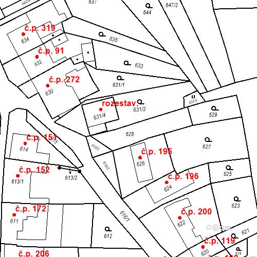 Katastrální mapa Stavební objekt Bošovice 105, Bošovice