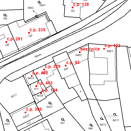 Katastrální mapa Stavební objekt Bošovice 93, Bošovice