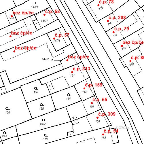 Katastrální mapa Stavební objekt Bošovice 313, Bošovice