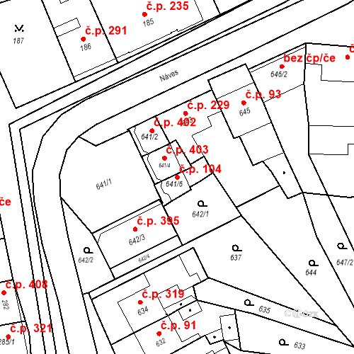 Katastrální mapa Stavební objekt Bošovice 104, Bošovice