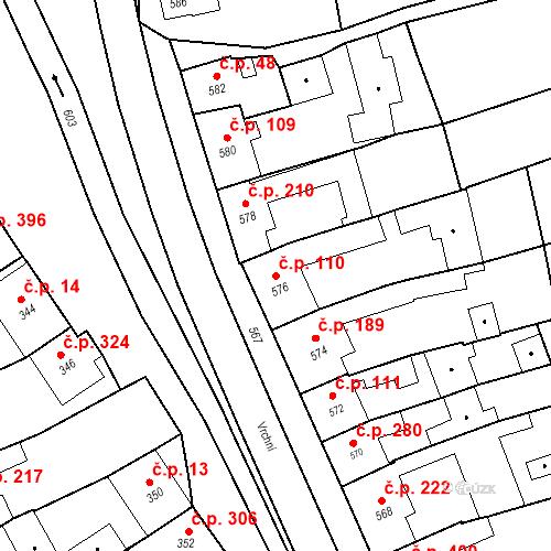 Katastrální mapa Stavební objekt Bošovice 110, Bošovice