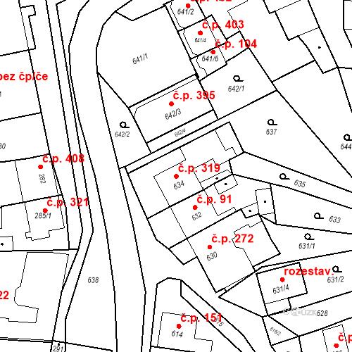 Katastrální mapa Stavební objekt Bošovice 319, Bošovice