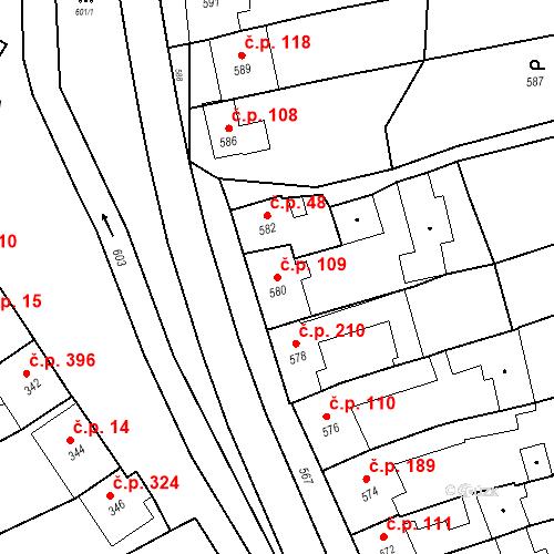 Katastrální mapa Stavební objekt Bošovice 109, Bošovice