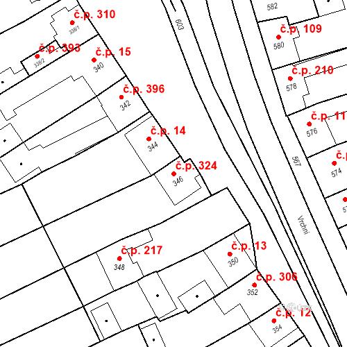 Katastrální mapa Stavební objekt Bošovice 324, Bošovice