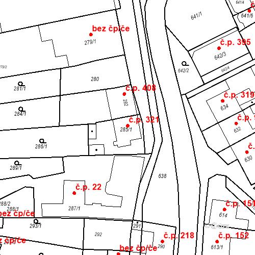 Katastrální mapa Stavební objekt Bošovice 321, Bošovice