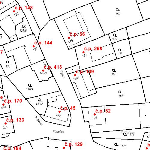 Katastrální mapa Stavební objekt Bošovice 149, Bošovice