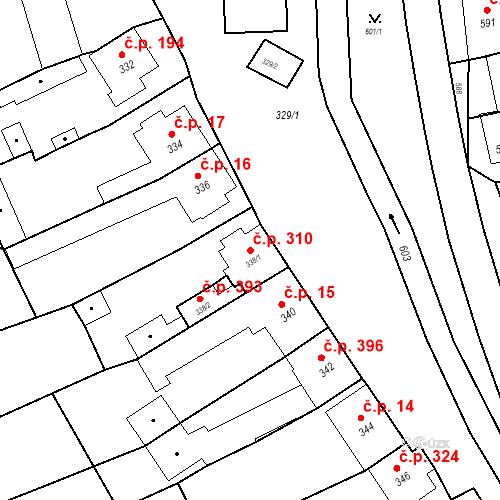 Katastrální mapa Stavební objekt Bošovice 310, Bošovice