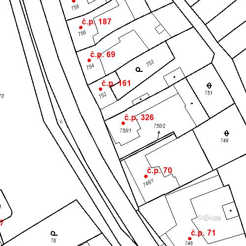 Katastrální mapa Stavební objekt Bošovice 326, Bošovice